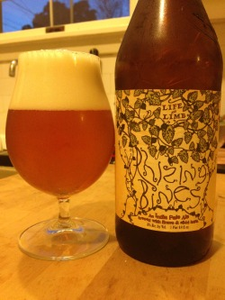 Dogfish Head's/Sierra Nevada's Rhizing Bines IPA (Picked up at Berkeley Bowl West). A 2 of 4. Really nice color, and the nose is very, very earthy - grass, lemon, and other notes as well. Quite syrupy on the palate, and a bit sweet for the relatively low bitterness in this - while the hops are featured, it's mostly the flavor nuance, not a powerful bitterness. Quite interesting, but not my favorite.