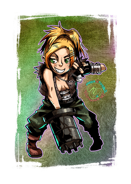 Trick Stars: Rikku of FFX crossdressing as Barret from FFVII. Done for the cover of my Final Fantasy fan comic, Trick Stars Vol. II. [clickie to see the full cover] It was fun to be able to draw her again… I do love this crazy lil' Al-bhed! ♥