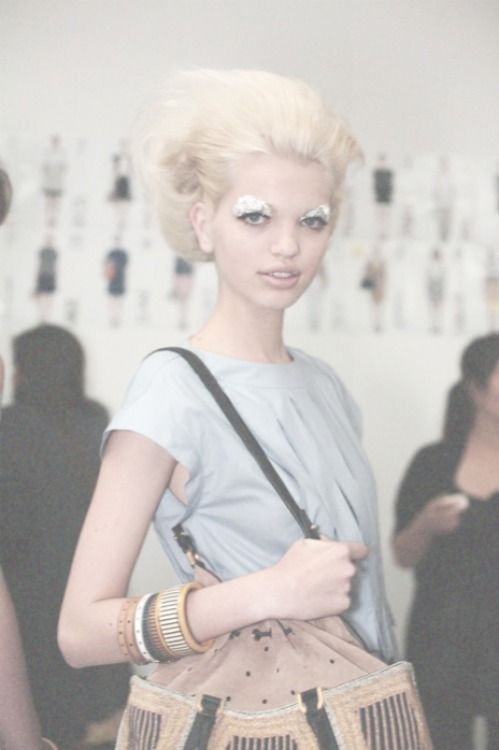 Daphne Groeneveld backstage at Fendi S/S 2012