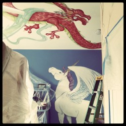 Fantacy murals in progress in Denver home… I wish that wall wasn't blue but Mom couldn't part with it. Alls well though. The murals are looking great. Unicorn (Alicorn), bamboo and three Chinese Dragons.