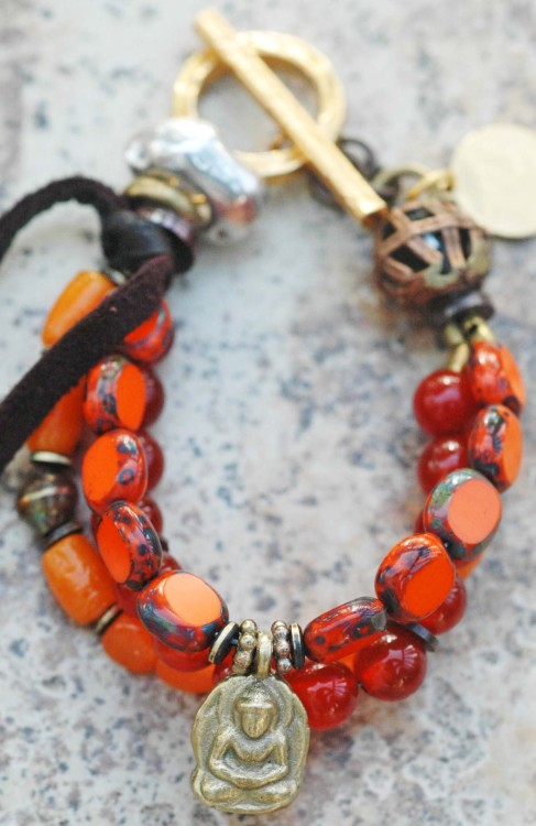 Orange Everyday Bracelet: Simple and Fun Everyday Leather, Bead and Mixed Metals Charm Bracelet