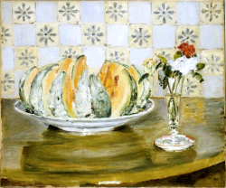 bofransson:  Still life of a Melon and a Vase of Flowers Pierre-Auguste Renoir