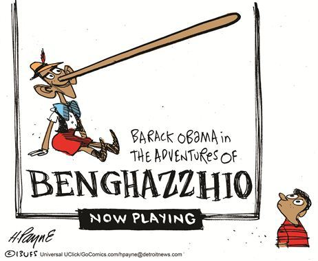 "agoodcartoon:  The Benghazi Paradox holds that the Republican statement ""this scandal grows now"" can be neither true nor false, because the scandal continues to grow despite the fact that there is no coverup to point to, yet the scandal continues to grow because the media ""isn't reporting"" on the coverup that doesn't exist, and so on ad infinitum. A good cartoon."