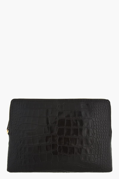asthetiques:  LANVIN - BLACK LEATHER AND SNAKE CHAIN CROC-EMBOSSED IPAD CASE.
