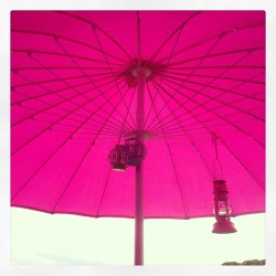 My new oriental terrace umbrella with lanterns…so sweet 🌸🏡💗