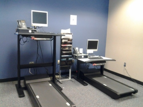 """I took this at work today. These are the treadmill desks that precisely zero people use. I understand the one on the left, but the one on the right…"""