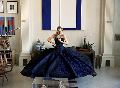 "my friend michelle harper in a zac posen ball gown for her ""une fille, un style"" profile in vogue paris."