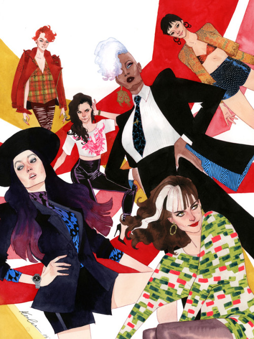 "fashiontipsfromcomicstrips:  kevinwada:  When the new X-men lineup was announced I, of course, thought it was amazing and refreshing and about damn time.  It wasn't until a friend of mine brought the new team up again that the idea for another X-fashion developed.  It really was a ""duh"" moment for me - they're ripe for a fashion piece, and not just because they're women but because they are some of THE biggest female names of the X-men.  So I went for it.  Wanted something a little more dynamic than X-fashions of the past.  My main thought going in was more pants, less dresses and frippery.  Of course there's still bling and heels - you can't take away all the fun - but I wanted fashion that was a bit more street, more real, a little more badass.  Rachel is grunge.  Love her jacket, not so happy with her shirt.   Psylocke is NYC fashionista tomboy.  Dip dyed hair (so trendy) and a butterfly print blouse. I'm really happy with Kitty's dragon t-shirt and bad ass heels.  Had to get a shoe in there somewhere, people. Storm is my 80s executive realness.  Her earring is fashioned after the one Willi Ninja bought (he has the receipt) in Paris is Burning. My southern belle is in a loud print and hose - she's the only one in a dress.  I wanted her in printed leggings but she was already such a patterned mess I decided against it. And Jubes is just all over the place.  Bikini and hot pants and a bedazzled jacket. The original will be going up in the store as soon as tomorrow.  Prints as well - in TWO sizes :)  Hope you guys like it, let me know what you think!    This is what perfection looks like. A+, Kevin Wada."