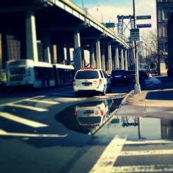 """Reflecting Pool"" #LowerEastSide #LES #LowerManhattan #NewYorkCity #NYC #NewYork #abrooklynsoul #explore_community #explore_nyc #Puddles #WilliamsburgBridge #UrbanLandscape #UrbanDwellings  (at Lower East Side)"