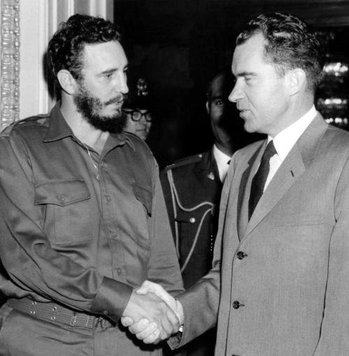 Cuban leader Fidel Castro pictured with Vice President Nixon at The White House in April 1959, following his takeover of Havana earlier that year. [844x900] - Imgur