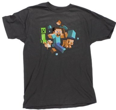 Minecraft Run Away! Glow in the Dark T-Shirt at $10.49 - $25.99 Yo, Steve! Whats with that guy? Why does he keep following us around? I dont know, little blocky pig, but dude keeps eyeballing my nice everything. You think hes up to something? Prolly. I kinda got the feeling we shouldnt let him get too close, though. Lets get out of here