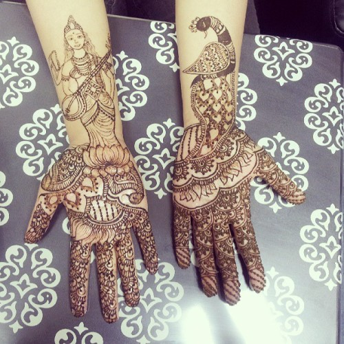 Got my #henna did by @hiralhenna ! Design on the left is of #Saraswati, #Indian #goddess of #wisdom and the one on the right is of a #peacock. Together I will say they represent #beautiful wisdom or the #beauty that comes with wisdom and life experience. #Love! #art #design #tradition #Instalove #instagood #intricate #detail #detaileddesign