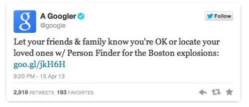 "13 Examples of people being awesome after the Boston Marathon bombings   I can't help but be inspired by the acts of bravery. I'm sure we'll hear many more stories in the days and weeks to come. Thanks to Business Insider for publishing this article.  And I also can't help but love Patton Oswalt: ""So when you spot violence, or bigotry, or ignorance, or fear, or just garden-variety misogyny, hatred, or ignorance, just look it in the eye and think, 'The good outnumber you. And we always will.'""  I'm also incredibly grateful that a very good friend of my dad's is okay and on her way home. Feeling sad for those not so fortunate."