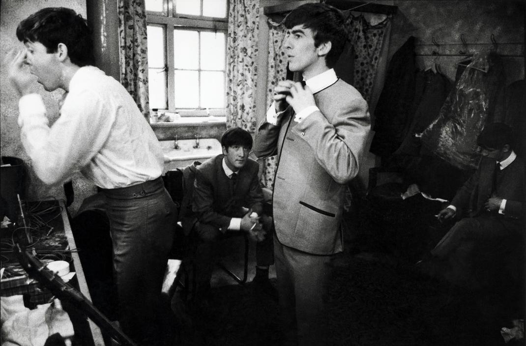 collectivehistory:  The Beatles in a dressing room, England, 1963 by Philip Jones Griffiths