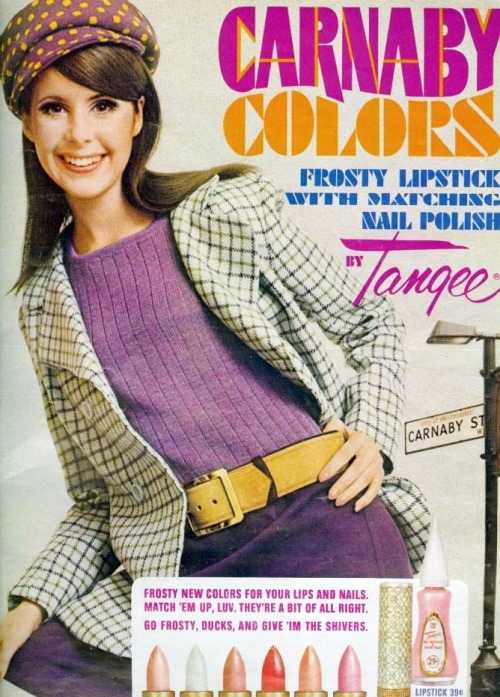 60sfashionandbeauty:  Carnaby Colors by Tangee, 1967. (♥)