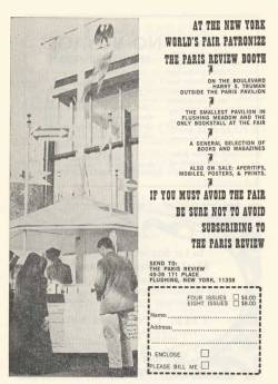 theparisreview:  On this day in 1964, the New York World's Fair kicked off in Flushing Meadows, Queens. And we were there!  Above, the brochure for the fair's smallest pavilion.