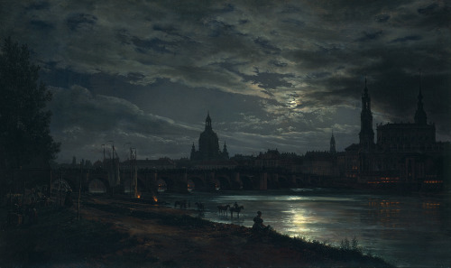 Johan Christian Dahl- View of Dresden by Moonlight