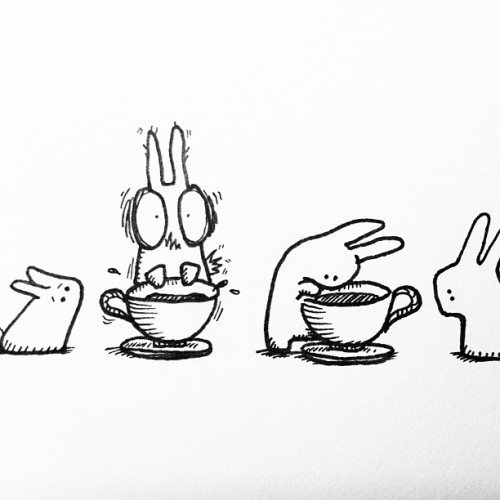 The Gummy Bunnies discover coffee #inkdrawing #sketches #bunnies