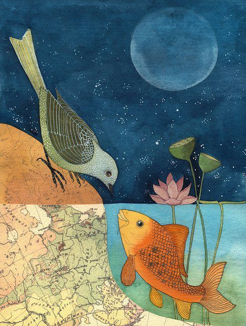 rhamphotheca:  The Fish and The Bird by Gennine, 2010 http://blogdelanine.blogspot.com/