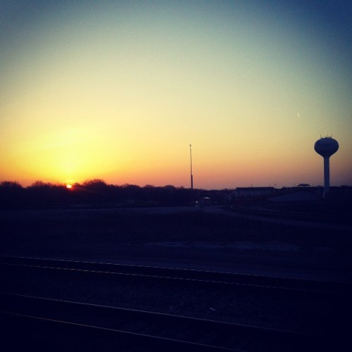 "Another submission in my series ""photos of the sunrise from a Metra platform"""