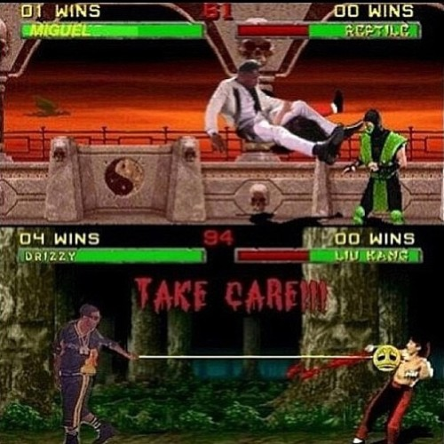 justcarrington:  Y'all have no Chill - I swear #Miguel #Dropkick #Drake #TakeCare #MortalCombat #NoChill