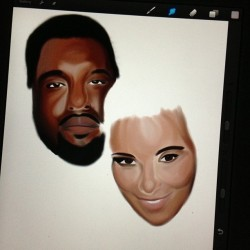 Tonight's progress of @kimkardashian and Kanye! So tired, but I don't want to stop! Oh well… Body's, hair and background tomorrow! #kimkardashian #kanye #digital #art #procreate