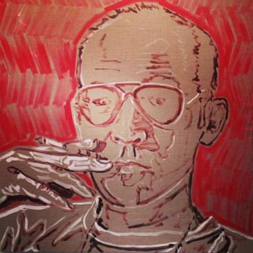 the beginning of @younghealthy  's #hunterthompson in his power color… #red #scoopit @alexanderchow