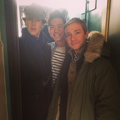 Lucky fan with both Benedict Cumberbatch and Martin Freeman.