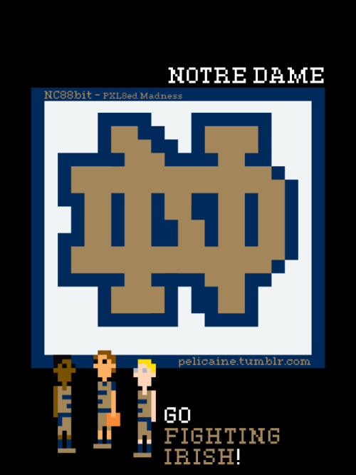Notre Dame. Go Fighting Irish! Just one of my 90 logo recreations from my NC88Bit - PXL8ed Madness series.(http://www.flickr.com/photos/92856514@N07/)