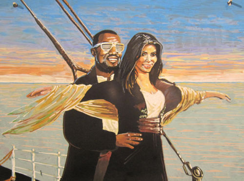 This Kardashian/West Titanic tribute was painted by Whole Foods artist Paul Fuentes and is displayed in the flower section of a NYC Whole Foods. (Source: Glamour)
