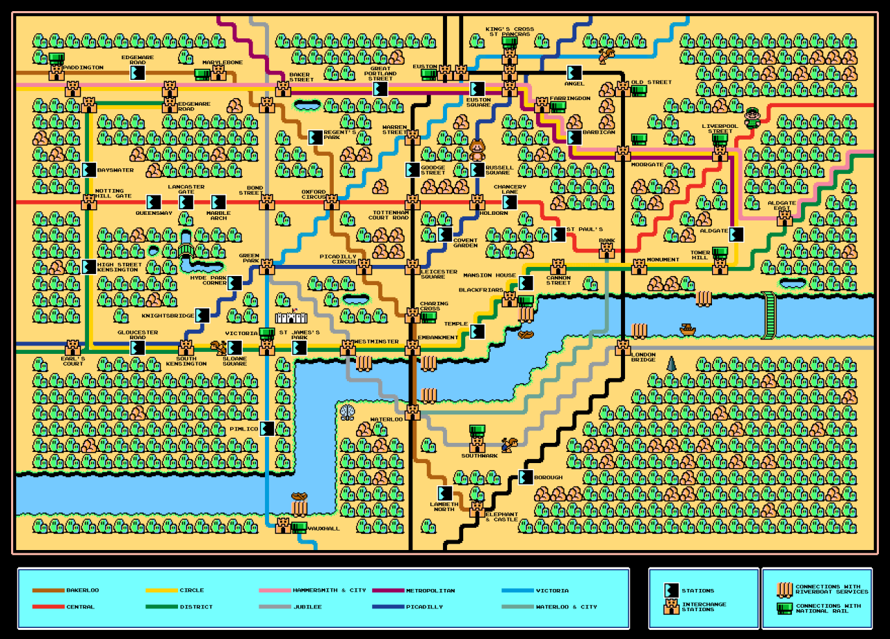 "8-bit tubemap  Chris Evans sez, ""I made this 8bit London Underground map a while ago, entirely in Tile Studio with a bit of Gimp to add text."""