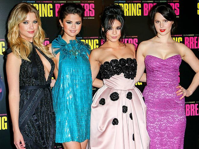 ON-THE-GO W/THE 'SPRING BREAKERS': ASHLEY BENSON + SELENA GOMEZ + VANESSA HUDGENS + RACHEL KORINE shine on the red-carpet Monday in Paris for the premiere of 'Spring Breakers.' It seems like this film has been 'upcoming' for years! xo Follow me: @rozOonThego credit: kcs presses|splash news online