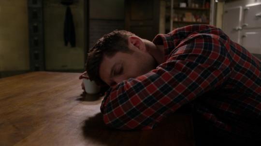 Dean asleep on kitchen table