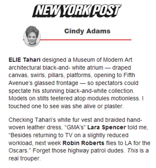 The New York Post's Cindy Adams writes about our Fall '13 presentation.