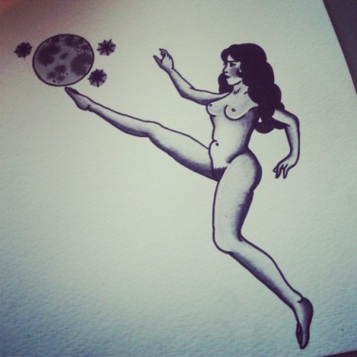 Naked lady having a kick about with the moon..just painted, would love to tattoo this!