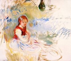 bofransson:  Little Girl Seated on the Lawn Berthe Morisot