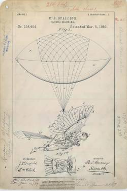 todaysdocument:  Patent Drawing for R. J. Spalding's Flying Machine, 03/05/1889