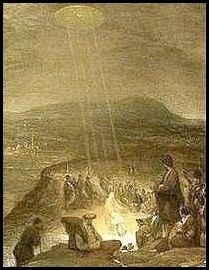 "revolutionman80:  This painting is by flemish artist Aert De Gelder and is entitled ""The Baptism of Christ"". It was painted in 1710 and hangs in the Fitzwilliam Museum, Cambridge. A disk shaped object is shining beams of light down on John the Baptist and Jesus. This shows an awareness of UFOs by this artist in 1710."
