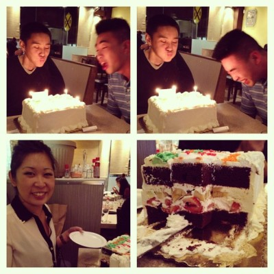 Happy birthday Derrick and Ben!! Taurus unite! 🐮 And thank you @michelleebelly for introducing us to an amazing cake 😭🎂💃   @c_xtine @masaotaylor @benjamminluo #mazzetti's (at Shabu House)