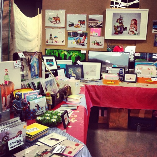 Snapshot of the booth at the Renegade Craft Fair: lots of gifted fools here! Come and see! Today until 7pm, back tomorrow morning at 11 am @palmer event center, Austin, TX
