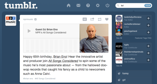 """LOL BRIAN ENO"" -tumblr"