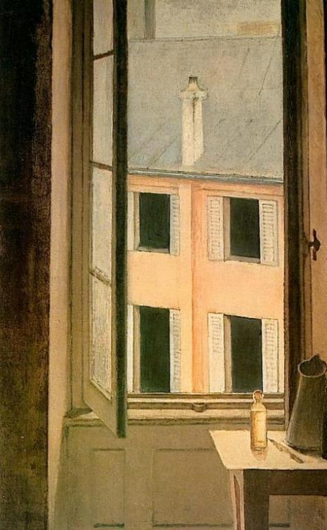 mythologyofblue:  Balthus, Window, Cour de Rohan, 1951  Love this. Love the colours. Amazing depiction of light.