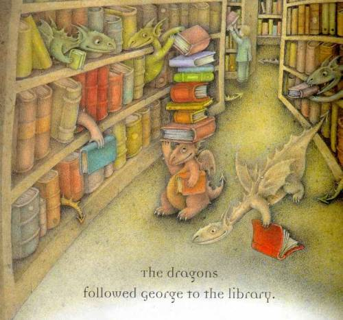 Dragons fly and read in the library / Los dragones vuelan y leen en la biblioteca (ilustración de Wayne Anderson)