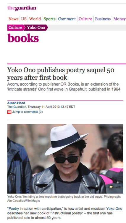 Announcing OR's newest: Acorn by Yoko Ono! Find out more about the project here.