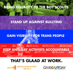 From bringing equality to the Boy Scouts of America, standing up against bullying, gaining visibility for trans people and keeping anti-gay activists accountable, GLAAD is leading the conversation for LGBT equality. Chip in and help us continue this culture-changing work: http://www.razoo.com/story/glaad