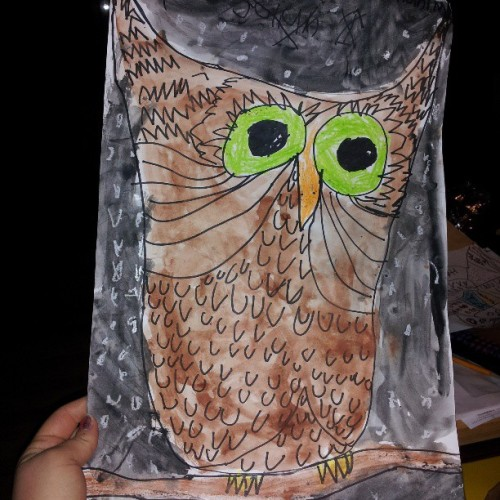 Julian made me an owl to put up in my room, I'm so excited! #kidart #nephew #owl #art