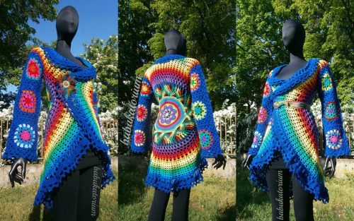 Crochet Coat - Dark Blue Aztec Sun Mandala With Granny Circles To Squares Sleeves on Flickr.