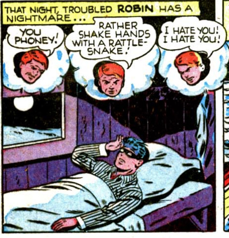 twentypercentcooler:  tompeyer:  Troubled ROBIN has a nightmare!   Robin wears his mask with his pajamas.  Of course. And don't forget that the Teen Titans animated version sleeps in full costume.