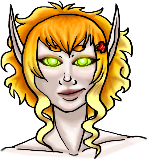 Awhile ago I Made a Smackweaver Monk Named Marcelinee (Yes she was named after Marceline the vampire queen only because i really liked the name) and I finelly made her a head-shot of her based on her look in game but i changed up her hair and gave her different eyebrows since she kinda burnt them along time ago lol (RP Wise)  I really love the monk class btw. <3