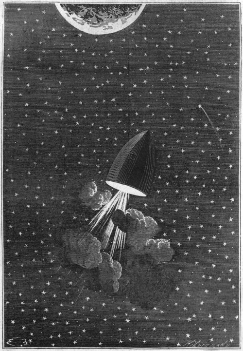 "Illustration for ""De la Terre à la Lune"", Jules Verne. By Émile-Antoine Bayard and Alphonse de Neuville."